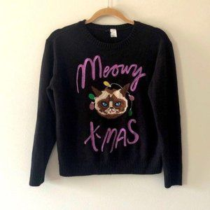 H & M Meowy Christmas Sweater Black Size Small
